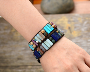 Leather Oblong Natural Beaded Turquoise Cuff | Wrap Bracelet - Egret Jewellery