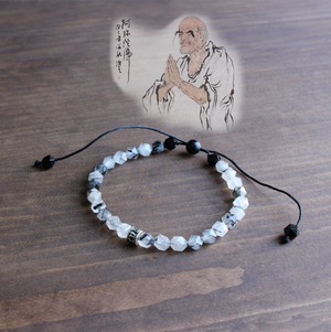 Natural Ink Stone Mala Beaded Bracelet Tibetan Buddhist Stacking Bracelet