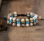 Natural Stone Amazonite Beaded Stacking Bracelet