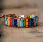 Natural Multi-Coloured Gemstone Oblong Wrap | Cuff Bracelet