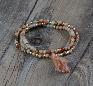 Natural Jasper Beaded Stretch Wrap Bracelet