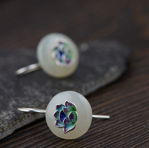 Natural Jade Sterling Silver Lotus Enamel Drop Earrings - Egret Jewellery