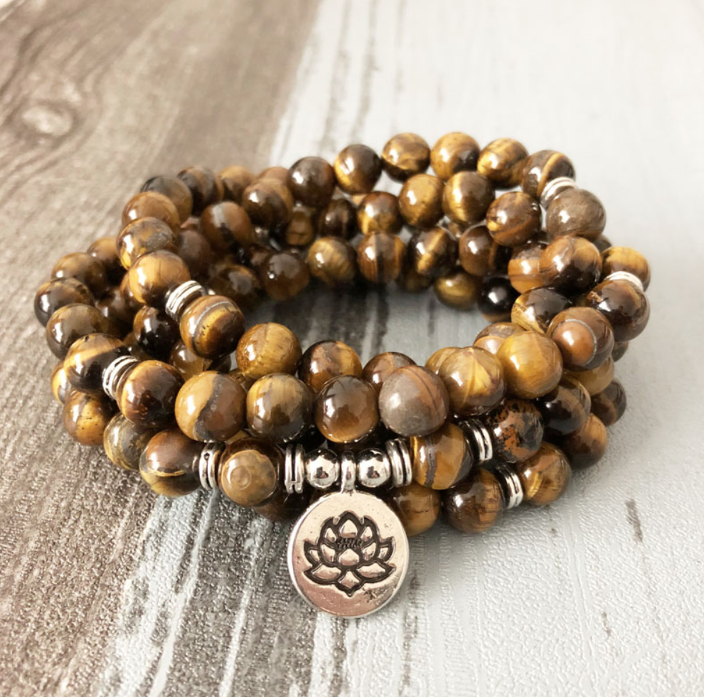 Tiger's Eye Beaded Bracelet Wrap, Mala Beads - Egret Jewellery