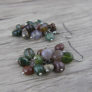 Natural Stone Indian Agate Drop Dangle Silver Beaded Earrings