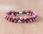 Natural Purple Impression Jasper Gemstone Beaded Stacking Bracelet