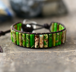 Natural Beaded Oblong Green Impression Jasper Wrap | Cuff Leather Bracelet