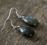 Natural Labradorite Oval Silver Dangle Drop Earrings