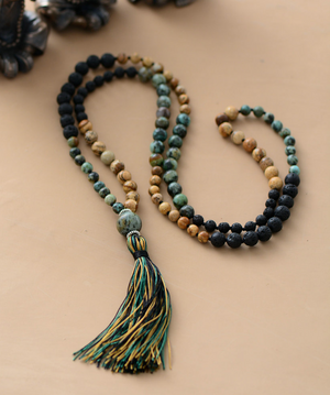Natural Gemstone Lava Rock | Jasper Mala Beaded Necklace
