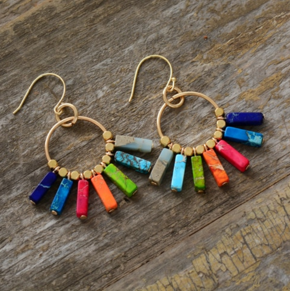 Impression Jasper Multi-Coloured Drop | Dangle Boho Earrings