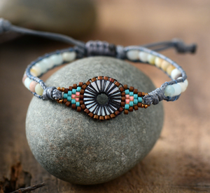 Natural Stone Seed Beads & amazonite Beaded Cord Stacking Bracelet