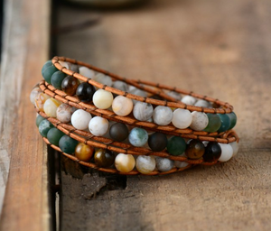 Natural Agate, Onyx & Jasper Beaded Leather Wrap Bracelet