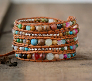 Natural Gemstone Beaded Wrap Bracelet
