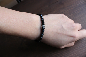 Tibetan Buddhist Black Agate Stacking Mantra Bracelet