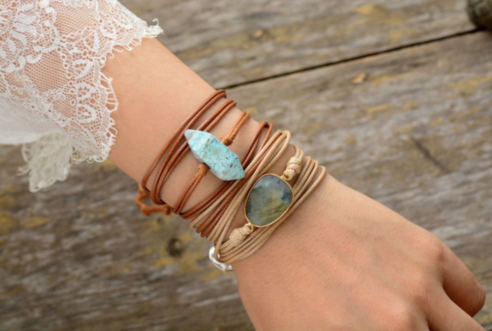 Natural Gemstone Labradorite Cord Stacking Wrap Bracelet - Egret Jewellery