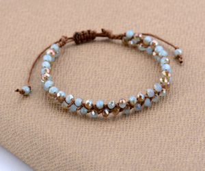 Pale Blue Tila Beads Cord Stacking Friendship Bracelet