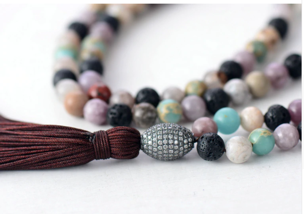 Natural Beaded Long Amazonite & Lava Rock Boho Tassel Mala Necklace