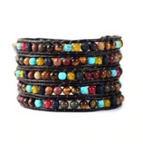 Natural Lava Rock & Turquoise Stone Beaded Leather Wrap Bracelet