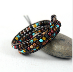Natural Lava Rock & Turquoise Stone Beaded Leather Wrap Bracelet - Egret Jewellery