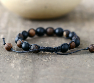 Black Onyx Beaded Shamballa Stacking Bracelet - Egret Jewellery