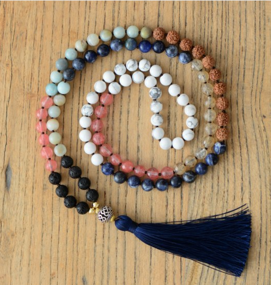 Natural Gemstone Beaded 7 Stone Chakra Mala Necklace