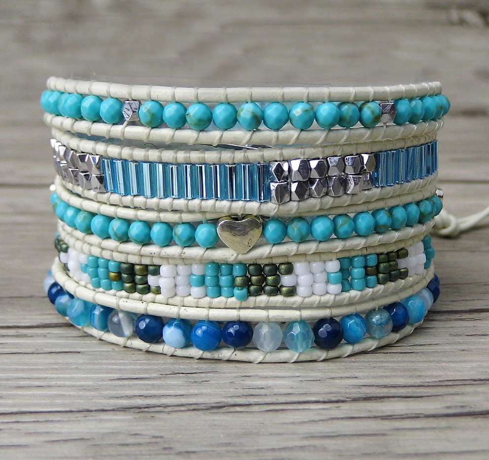 Natural Beaded Turquoise & Seed Beads Wrap Bracelet