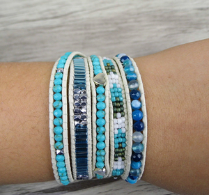 Natural Beaded Turquoise & Seed Beads Wrap Bracelet - Egret Jewellery