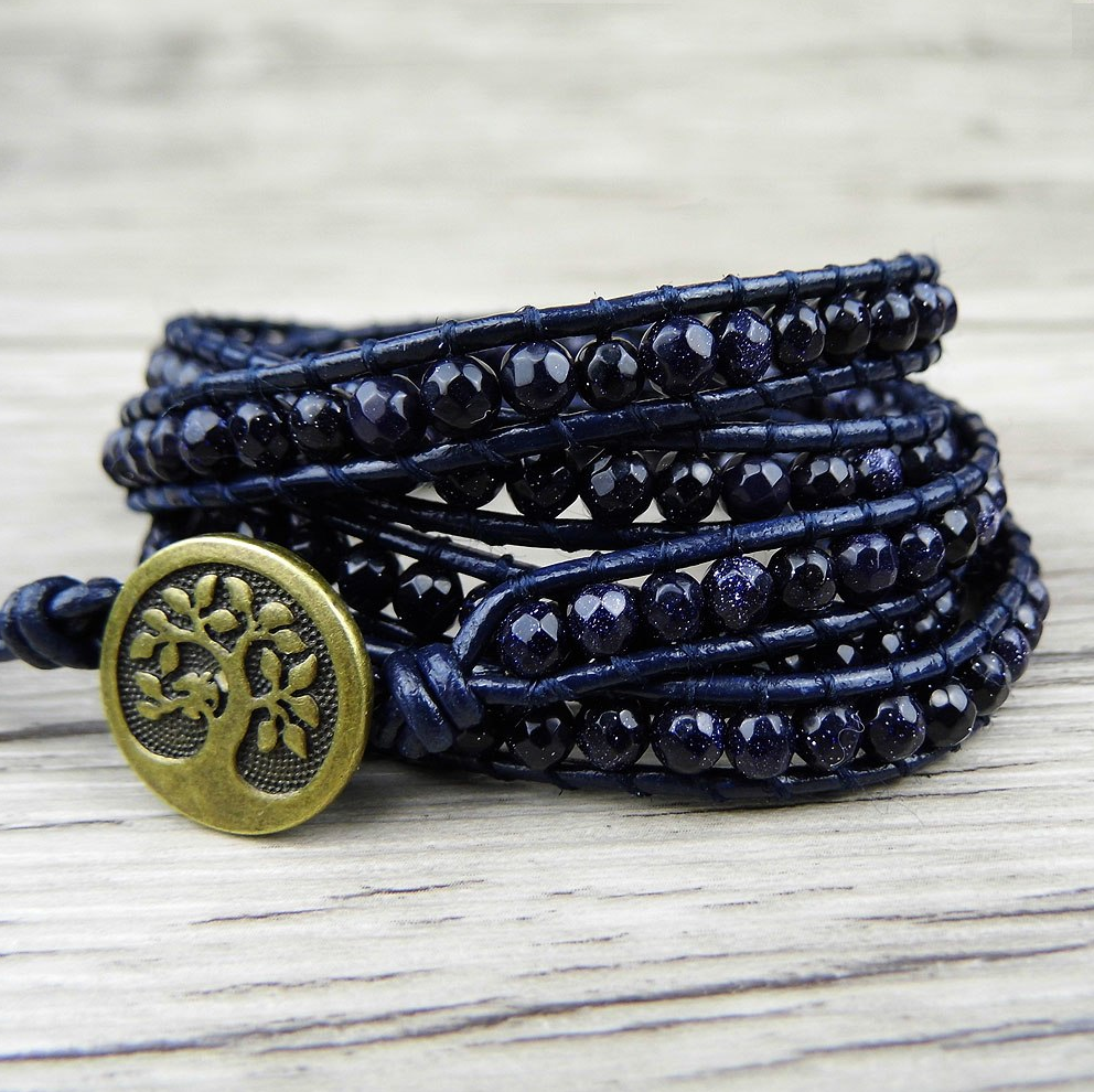 Natural Gemstone Beaded Goldstone Leather Wrap Bracelet Navy Blue