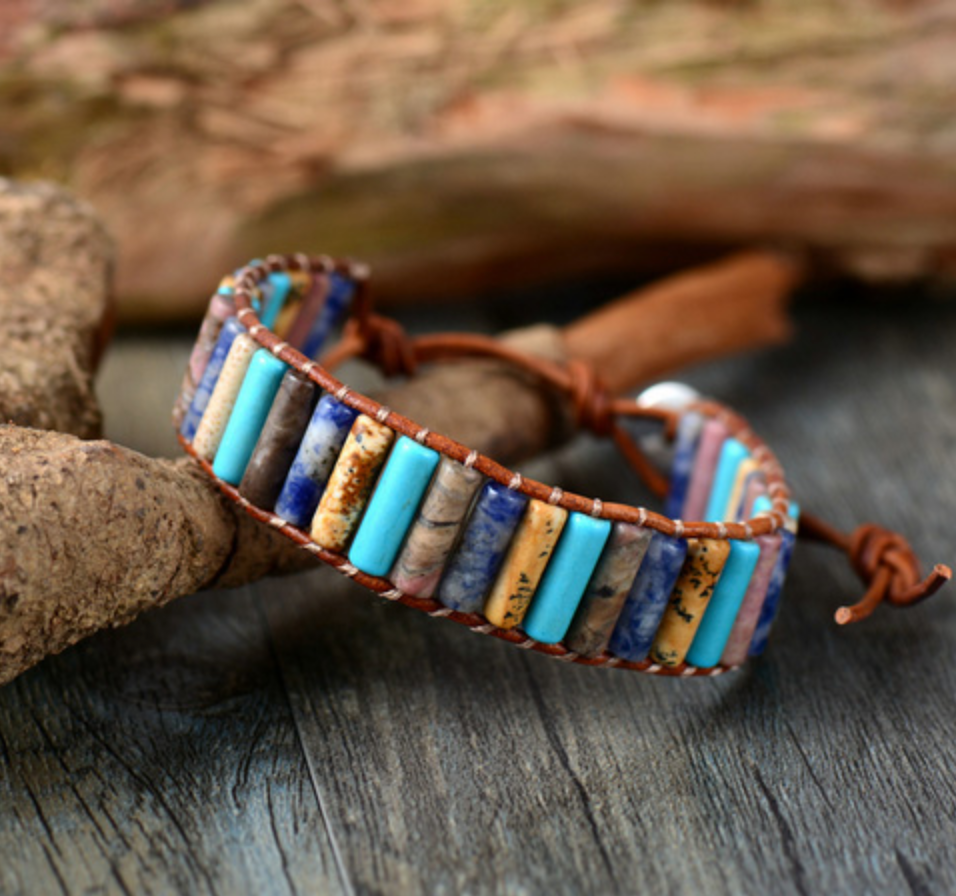Agate & Turquoise Beaded Leather Oblong Wrap Bracelet - Egret Jewellery