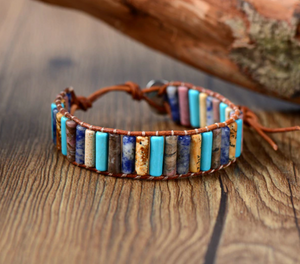 Agate & Turquoise Beaded Leather Oblong Wrap Bracelet