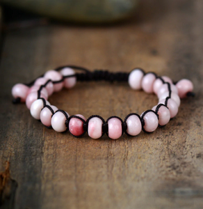 Natural Stone Beaded Rose Quartz Shamballa Friendship Stacking Bracelet
