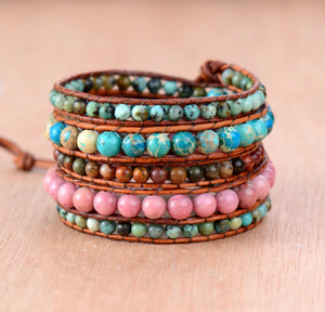 Natural Stone Beaded Leather Wrap Bracelet