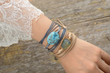 Natural Gemstone Turquoise Grey Cord Stacking Wrap Bracelet