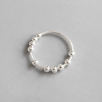 925 Sterling Silver Ball Spinning Ring | Fidget Rings Size: M