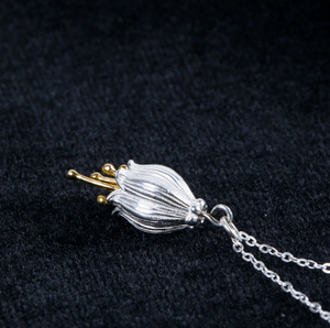 925 Sterling Silver Golden Campanula Flower Necklace - Egret Jewellery