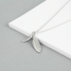 "Sterling Silver Feather Charm Necklace 18"" - Egret Jewellery"