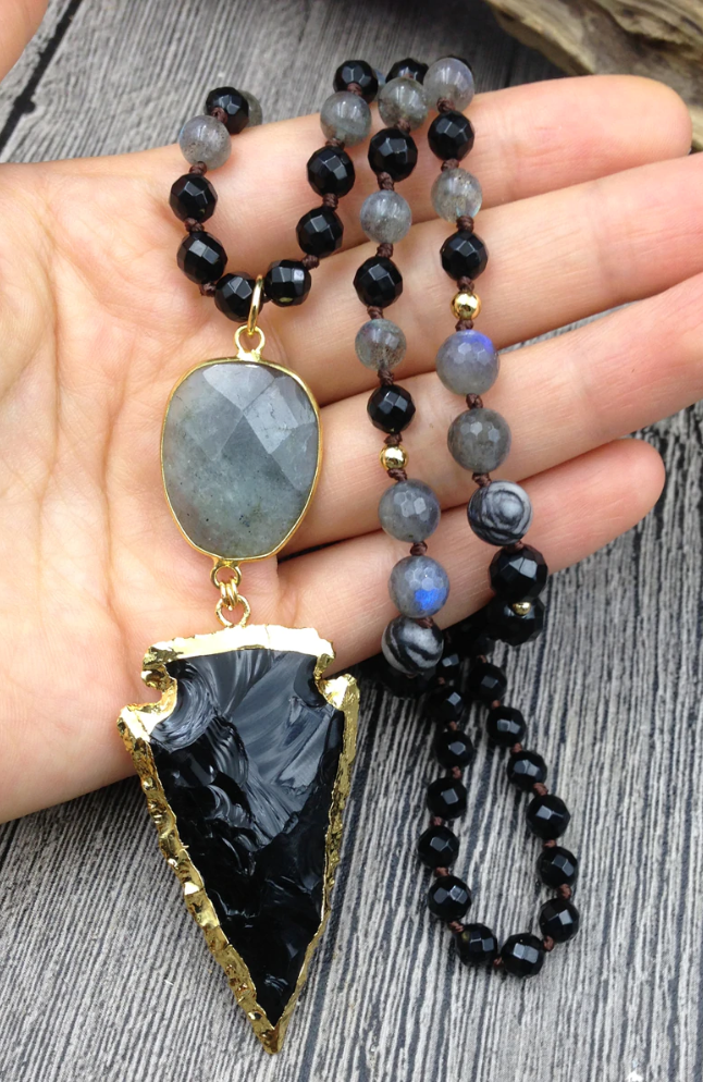 Natural Gemstone Mala Obsidian Labradorite Necklace