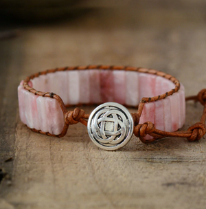 Natural Rose Quartz Leather Oblong Cuff Wrap Bracelet