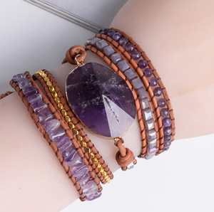 Natural Amethyst Beaded Wrap Bracelet, Leather Purple Tila Beads Cuff Geode