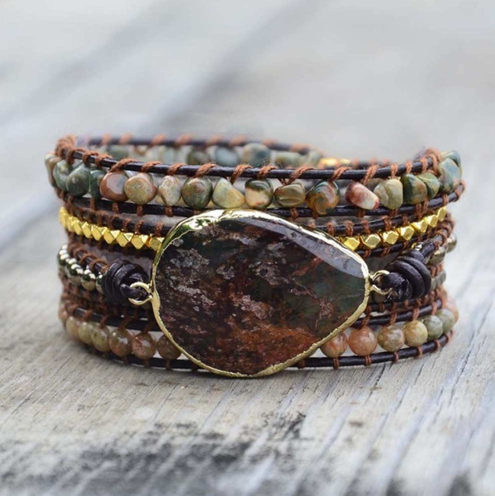 Natural Jasper Rough Geode Leather Beaded Wrap| Cuff Bracelet