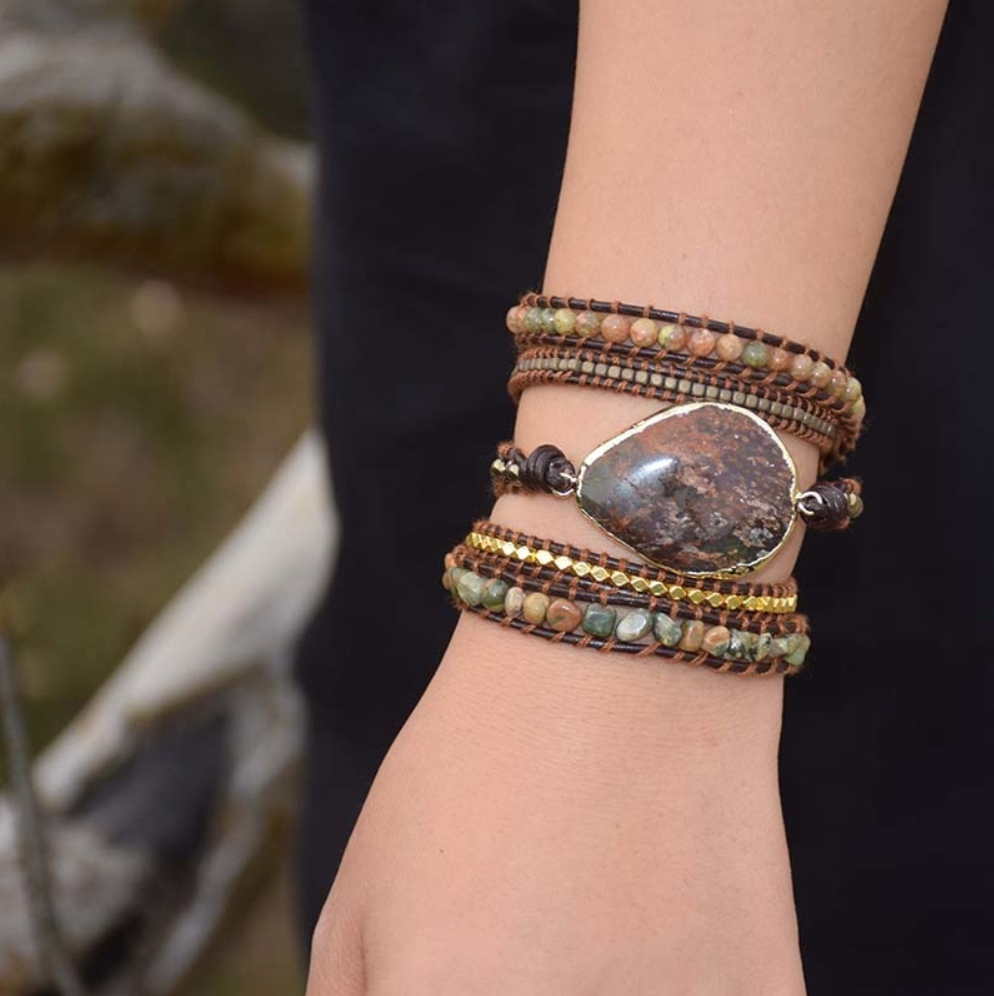 Natural Jasper Rough Geode Leather Beaded Wrap| Cuff Bracelet - Egret Jewellery
