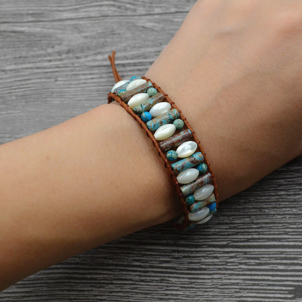 Natural Imperial Jasper | Pearl Beaded Leather Oblong Cuff Bracelet - Egret Jewellery