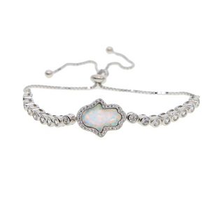 Hand of Hamsa Opal Sterling Silver-Plated Stacking, Friendship Bracelet