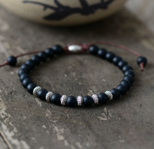 Men's Black Onyx Beaded Stacking Bracelet Shamballa stacks Beads