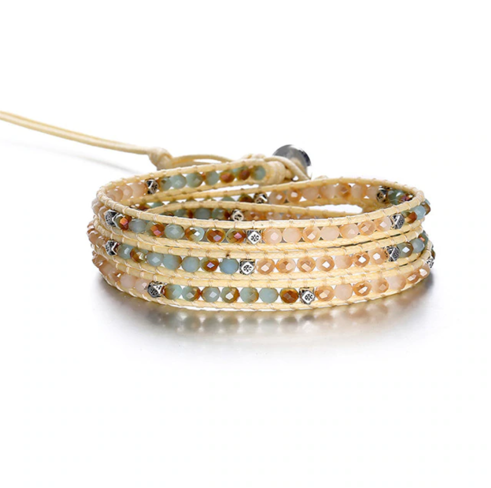 Square cut Tila beaded Vegan Cord Wrap Bracelet