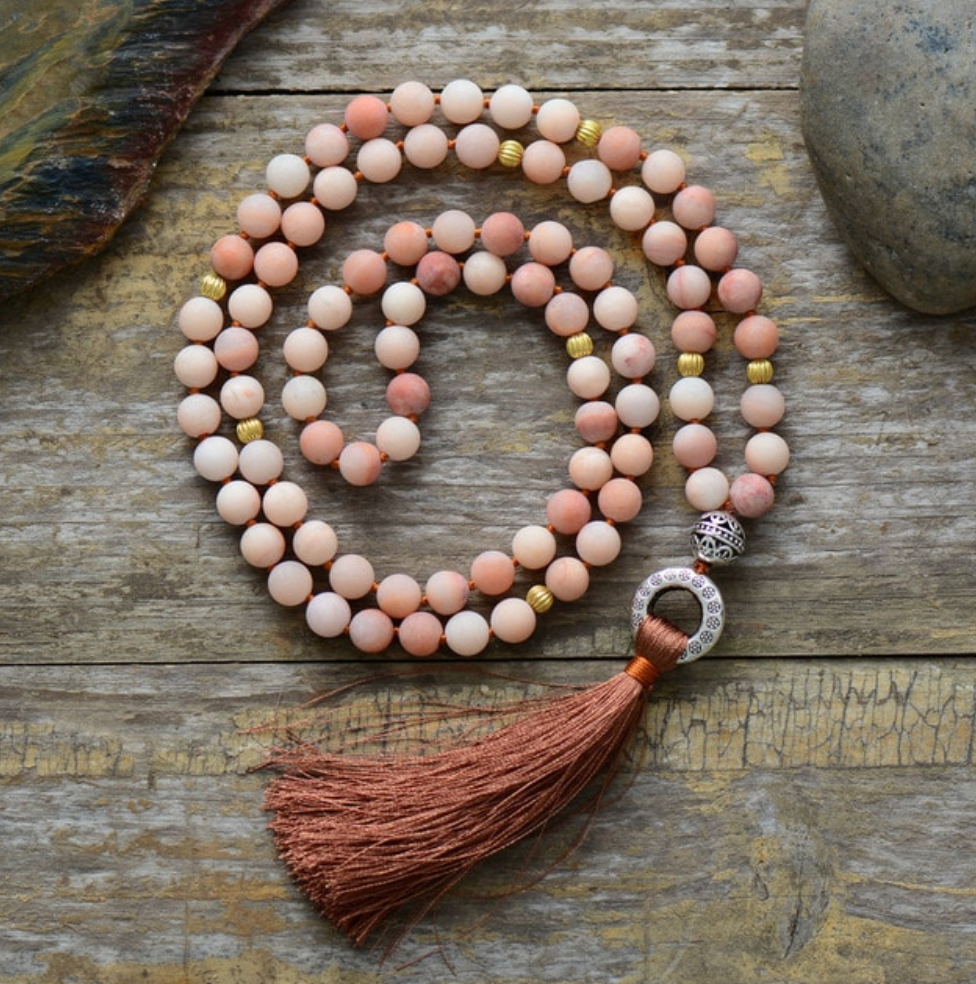 Long Beaded Mala Tassel Necklace Matt Rhodonite