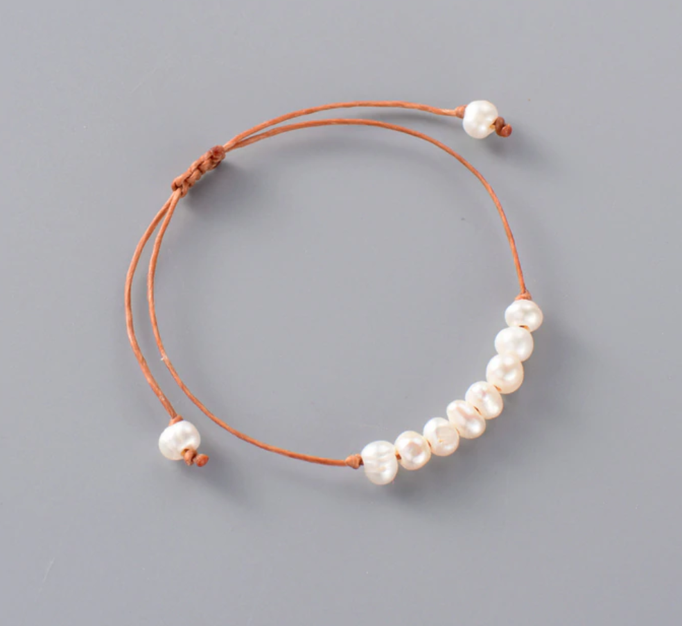 Natural Genuine Freshwater White Pearl Cord Stacking Bracelet - Egret Jewellery