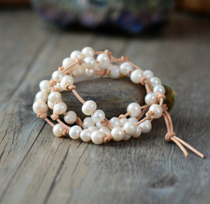 Natural Genuine Freshwater White Pearl Leather Wrap Bracelet - Egret Jewellery