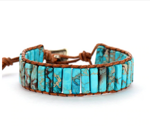 Natural Gemstone Turquoise Oblong Wrap | Cuff Bracelet - Egret Jewellery