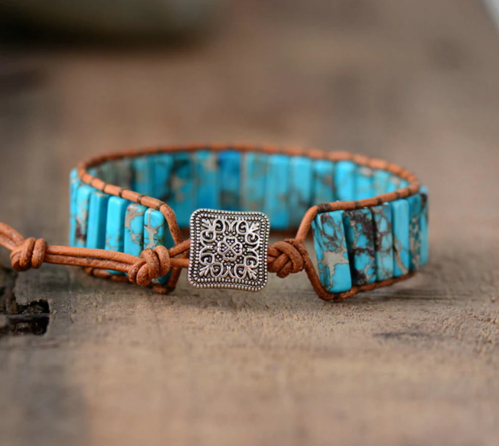Natural Gemstone Turquoise Oblong Wrap | Cuff Bracelet
