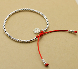 925 Sterling Silver Ball Celtic Symbol Red Cord Stacking Bracelet - Egret Jewellery